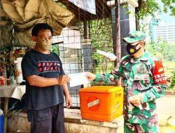 Koramil 06/Setiabudi Bagikan 2.000 Masker Dari Kodam Jaya