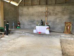 Satgas Pamtas Yonif Mekanis 643/Wns Disinfeksi sejumlah tempat ibadah, ruang publik dan rumah warga