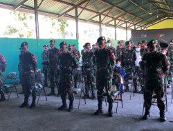 Prajurit Satgas Yonarmed 6/3 Kostrad Ajak Masyarakat Laksanakan Upacara Hari Kelahiran Pancasila Secara Virtual