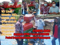 Momen Bulan Bung Karno, Syamsul Bahri Legislator PDIP Sumbar Salurkan Alat Perontok Jagung di Pasbar
